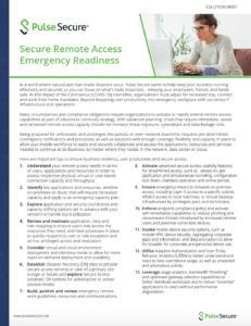Secure Remote Access Emergency Readiness